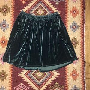 Urban Outfitters Turquoise Blue Velvet Mini Skirt
